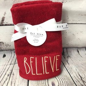Rae Dunn BELIEVE Christmas Hand Towels Red/Gold x2